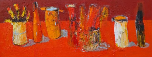Jolanta Caban ( ur. 1962 ), Still life with red and orange saucepan, 2021