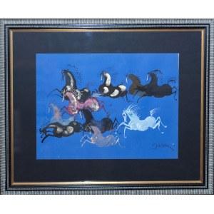 Józef Wilkoń ( ur. 1930 ), Tabun koni na niebieskim, 2021 w ozdobnej oprawie