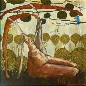 Jarosław LUTERACKI,, 40x40cm, Raz, dwa, trzy, niebieski ptak patrzy