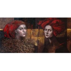 Mira SKOCZEK-WOJNICKA, 2X 40x40cm, Futrem otulona Czerwony turban