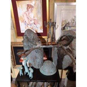 rzeźba 407 Bronisław Chromy długość 22cm - sygnowana, Kot -