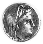 LESBOS, tetrobol (IV w. p.n.e.), Aw: Głowa Demeter w we...