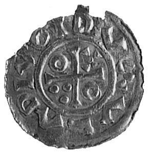 denar, Aw: Krzyż, w polu kulki, kółko i krzyżyk, napis ...