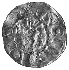 książę Bernhard Saski, denar, Aw: Głowa w hełmie z piór...