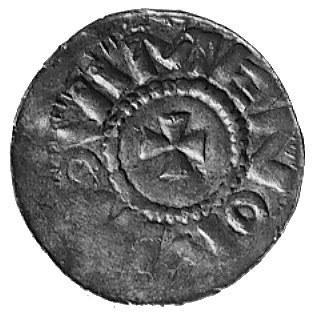 denar anonimowy, Aw: Mały krzyż i napis MEVO.. N, Rw: K...