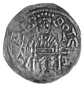 denar, Aw: Książę na tronie i napis, Rw: Głowa w kwadra...