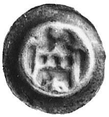 brakteat, nad bramą krzyż, u dołu kula, Vos.68