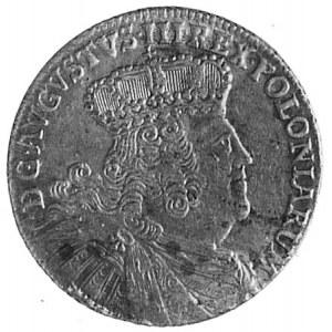ort 1754, Lipsk, Aw: Popiersie i napis, Rw: Tarcza herb...