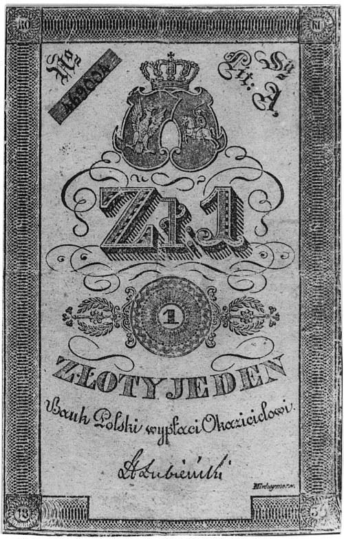 1 złoty 1831, podpis: Łubieński, Nr 469 004, Pick 22