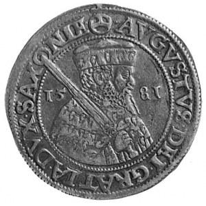 ćwierćtalar 1581, Aw: Popiersie z mieczem i napis, Rw: ...