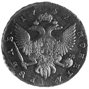 rubel 1742, Petersburg, Aw: Popiersie w prawo i napis, ...