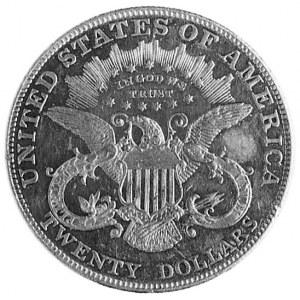 20 dolarów 1907, Filadelfia, Aw: Głowa Wolności, poniże...