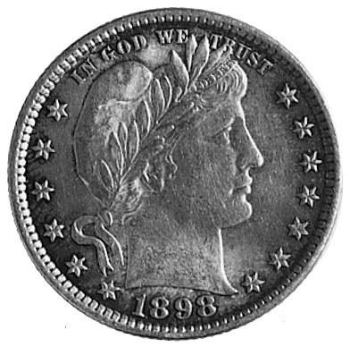 25 centów 1898, Filadelfia, Aw: Głowa Wolności w prawo,...