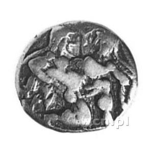 drachma, Aw: Klęczący nagi Satyr trzyma w ramionach bro...
