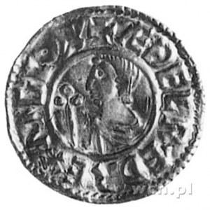 denar, Aw: Popiersie z krzyżem w lewo, w otoku napis: A...