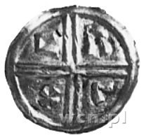 denar, Aw: Popiersie z krzyżem, Rw: Podwójny krzyż, w p...