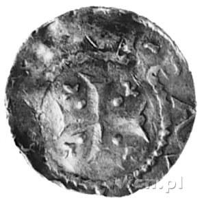 denar, Aw: Krzyż, w polu małe strzałeczki zwrócone do ś...