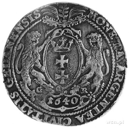talar 1640, Gdańsk, Aw: Popiersie i napis, Rw: Herb Gda...