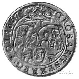szóstak 1667, Bydgoszcz, Aw: Popiersie i napis, Rw: Tar...