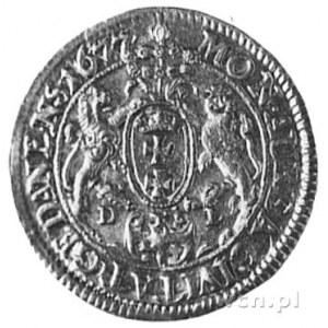 dukat 1677, Gdańsk, Aw: Popiersie i napis, Rw: Herb Gda...