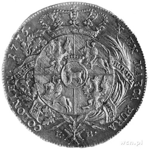 talar 1775, Warszawa, Aw: Głowa i napis, Rw: Tarcza her...