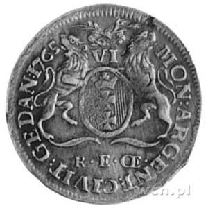 szóstak 1765, Gdańsk, Aw: Popiersie i napis, Rw: Herb G...