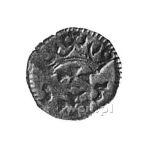denar 1555, Gdańsk, Aw: Orzeł Prus Królewskich, Rw: Her...