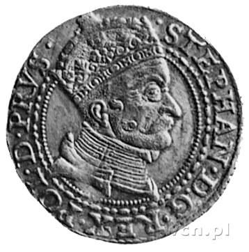 dukat 1579, Gdańsk, Aw: Popiersie i napis, Rw: Herb Gda...