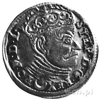 trojak 1583, Wilno, Aw: Popiersie i napis, Rw: Herby i ...