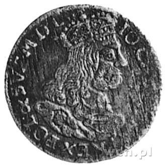 trojak 1662, Kraków, Aw: Popiersie i napis, Rw: Herby i...