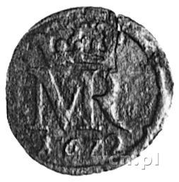szeląg 1672, Elbląg, Aw: Monogram, Rw: Napis i herb Elb...