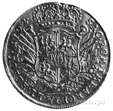 dukat 1702, Lipsk, Aw: Król na koniu i napis, Rw: Tarcz...
