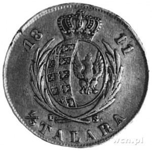 1/3 talara 1811, Warszawa, Aw; Głowa i napis, Rw: Tarcz...
