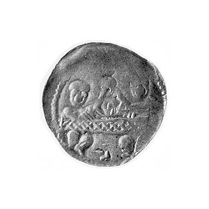 denar, Aw: Dwaj książęta za stołem, Rw: Rycerz stojący ...