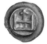 brakteat; Figura w kształcie korony z krzyżem, Vossberg...