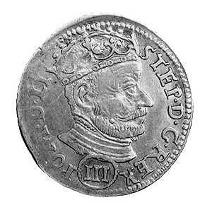 trojak 1580, Wilno, Aw: Popiersie w koronie i napis, Rw...
