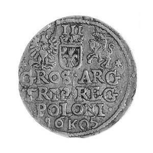trojak 1605, Kraków, Aw: Popiersie w koronie i napis, R...