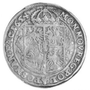 ort 1654, Poznań, Aw: Popiersie w koronie i napis, Rw: ...
