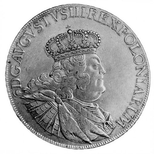 talar 1755, Lipsk, Aw: Popiersie w koronie i napis, Rw:...