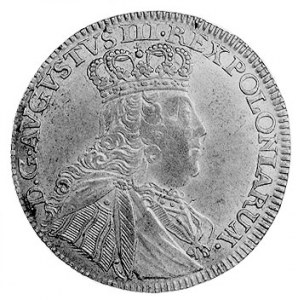 ort 1754, Lipsk, Aw: Popiersie w koronie i napis, Rw: T...