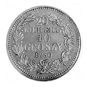 20 kopiejek=40 groszy 1850, Warszawa, j.w., Plage 396.