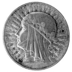 5 złotych 1933, Głowa kobiety, napis PRÓBA na rewersie,...