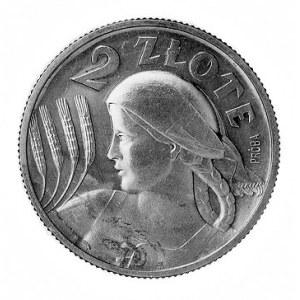 2 złote 1927, Kobieta z kłosami, napis PRÓBA na rewersi...