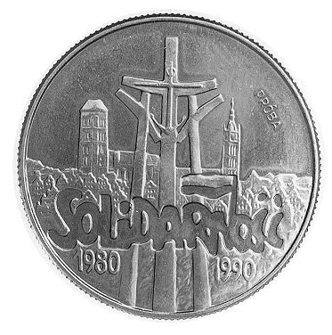 10.000 złotych 1990, Warszawa, Solidarność, napis PRÓBA...