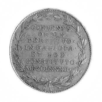 żeton 1782 r., Aw: Głowa w wieńcu laurowym w prawo i na...