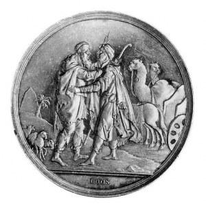 medal alegoryczny XIX w., Aw: Dwaj witający się mężczyź...