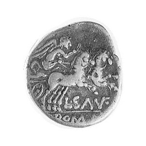 denar- L. Saufeius 152 pne, Aw: Głowa Romy w prawo, za ...