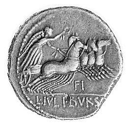 denar- L. Julius Bursio- 85 pne, Aw: Głowa Geniusza lub...