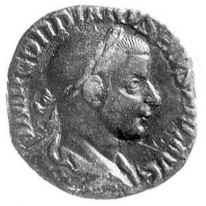 sesterc, Aw: Popiersie cesarza w wieńcu na głowie w pra...
