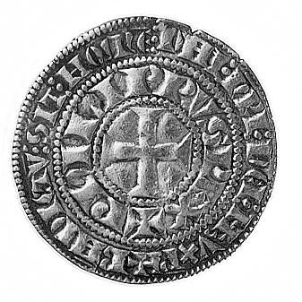 Filip IV Piękny 1285-1314, grosz turoński, Aw: Krzyż i ...